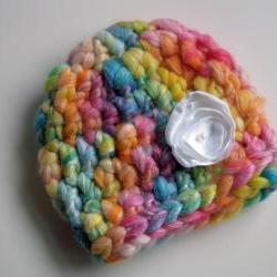 Newborn Rainbow Beanie w/Satin Flower